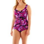 Azul by Maxine of Hollywood Shirred-Front 1-Piece Swimsuit - Plus