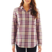 Liz Claiborne Long-Sleeve Plaid Popover Shirt - Petite