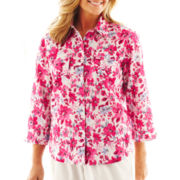 Alfred Dunner® Letters From Paris Ditsy Print Shirt - Petite