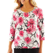 Alfred Dunner® Letters From Paris Floral Scroll Knit Top - Petite