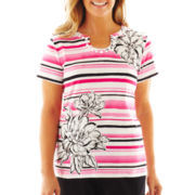 Alfred Dunner® Letters From Paris Striped Asymmetrical Floral Knit Top