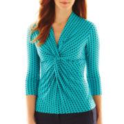 Liz Claiborne 3/4-Sleeve Twist Knot Top - Talls