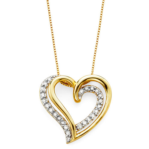 1/6 CT. T.W. Diamond 10K Yellow Gold Openwork Double-Heart Pendant Necklace