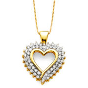 1/2 CT. T.W. Diamond 10K Yellow Gold Openwork Heart Pendant Necklace