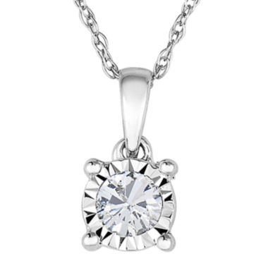 jcpenney.com | TruMiracle® 1/7 CT. Diamond 10K White Gold Round Pendant Necklace