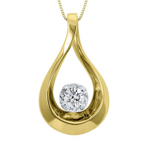 Sirena® 1/10 CT. Diamond 10K Yellow Gold Teardrop Pendant Necklace