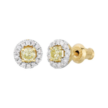 jcpenney.com | 1/2 CT. T.W. Yellow & White Diamond 10K Yellow Gold Round Halo Stud Earrings