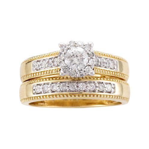 5/8 CT. T.W. Diamond 14K Two-Tone Gold Flower Milgrain Bridal Ring Set
