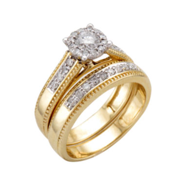 jcpenney.com | 5/8 CT. T.W. Diamond 14K Two-Tone Gold Flower Milgrain Bridal Ring Set