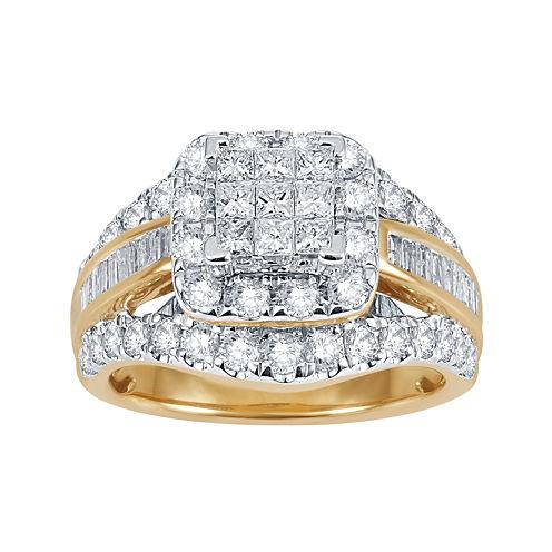 2 CT. T.W. Diamond 14K Yellow Gold Multi-Top Ring