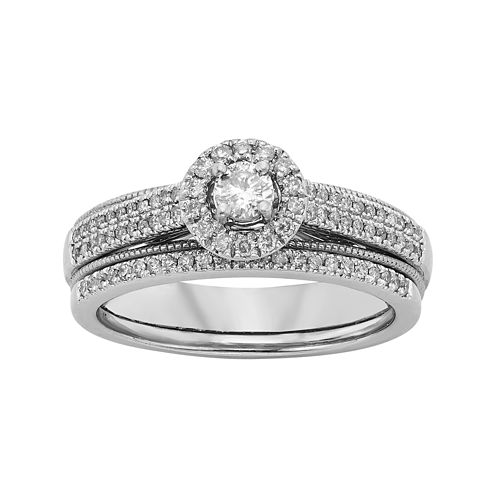 1/2 CT. T.W. Diamond 10K White Gold Milgrain Bridal Ring Set