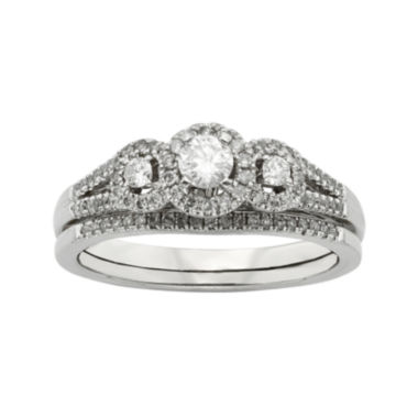 jcpenney.com | 1/2 CT. T.W. Diamond 10K White Gold 3-Stone Bridal Ring Set