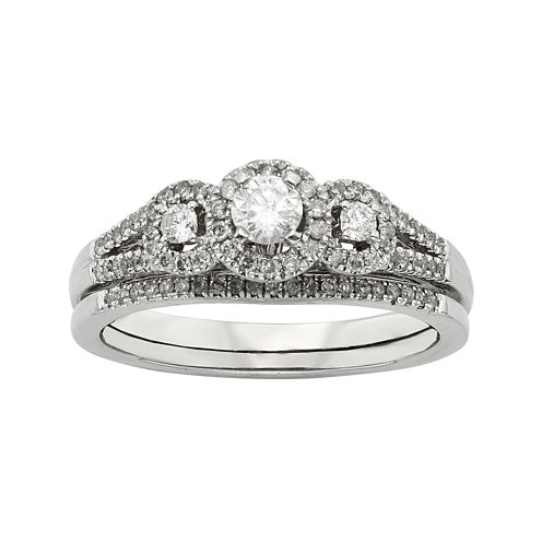 1/2 CT. T.W. Diamond 10K White Gold 3-Stone Bridal Ring Set
