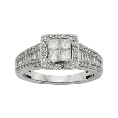 jcpenney.com | 1 CT. T.W. Diamond 10K White Gold Quad Princess Ring