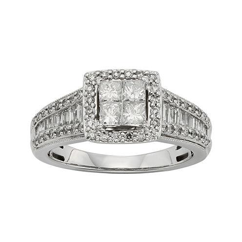 1 CT. T.W. Diamond 10K White Gold Quad Princess Ring