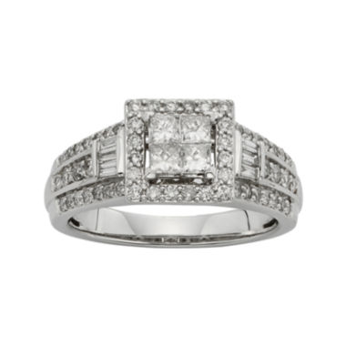 jcpenney.com | 1 CT. T.W. Diamond 10K White Gold Quad Princess Bridal Ring