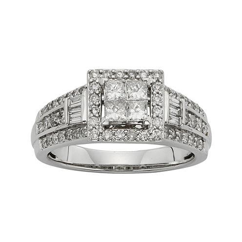 1 CT. T.W. Diamond 10K White Gold Quad Princess Bridal Ring