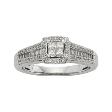 jcpenney.com | 1/2 CT. T.W. Diamond 10K White Gold Quad Princess Bridal Ring