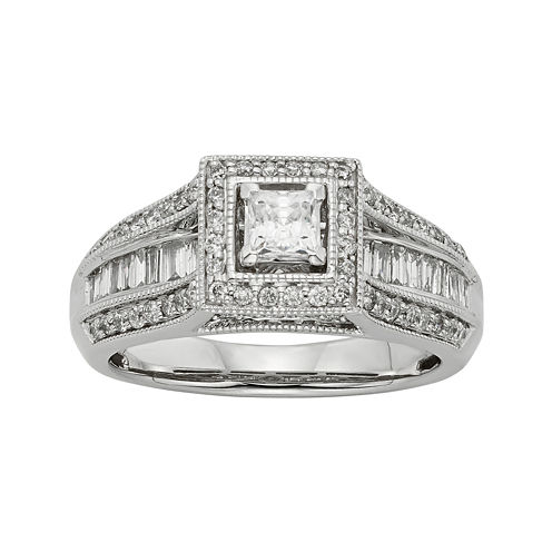 1 CT. T.W. Diamond 10K White Gold Princess-Cut Milgrain Bridal Ring