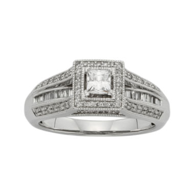 jcpenney.com | 1/2 CT. T.W. Diamond 10K White Gold Princess-Cut Bridal Ring