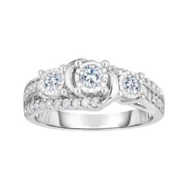 jcpenney.com | TruMiracle® 3/4 CT. T.W. Diamond 10K White Gold 3-Stone Bridal Ring