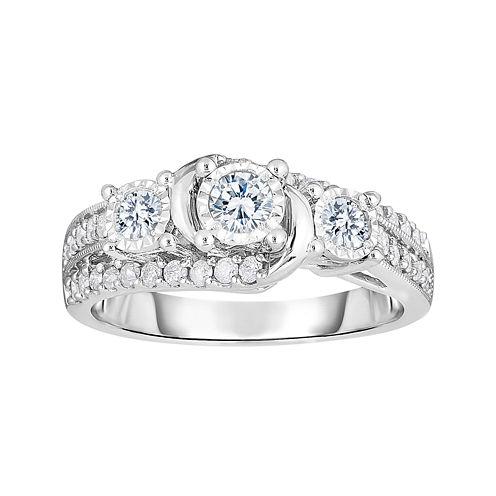 TruMiracle® 3/4 CT. T.W. Diamond 10K White Gold 3-Stone Bridal Ring