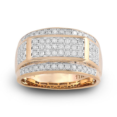 Mens 1 CT. T.W. Diamond 10K Yellow Gold Frame Ring