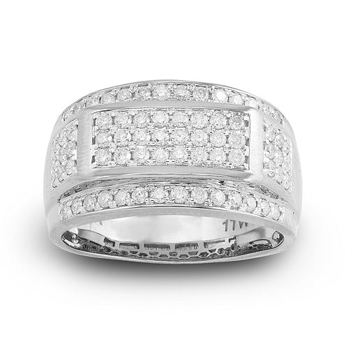 Mens 1 CT. T.W. Diamond 10K White Gold Frame Ring