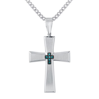 Stainless steel cross pendant 1 mens color enhanced blue diamond accent stainless steel cross pendant necklace aloadofball Image collections