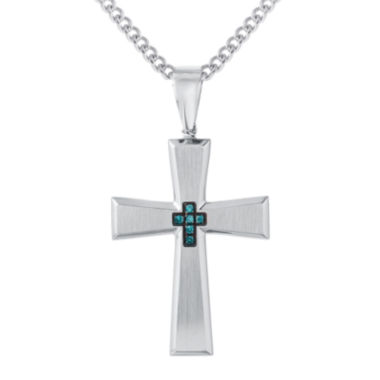 jcpenney.com | Mens Color-Enhanced Blue Diamond-Accent Stainless Steel Cross Pendant Necklace