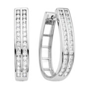 1 CT. T.W. Diamond Sterling Silver 2-Row Hoop Earrings