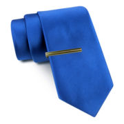 JF J. Ferrar® Solid Tie and Tie Bar Set - Slim