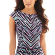 Bisou Bisou® Short-Sleeve Open-Back Chevron-Print Crop Top
