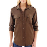 MNG by Mango® Long-Sleeve Khaki Blouse