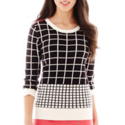 Worthington® 3/4-Sleeve Grid Sweater