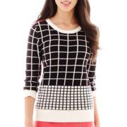 Worthington® 3/4-Sleeve Grid Sweater