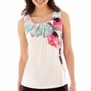Worthington® Sleeveless Embellished-Neck Top