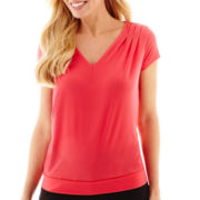 Worthington® Short Sleeve V-Neck Top