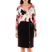 Worthington® Necklace Blouse or Asymmetric-Zip Pencil Skirt