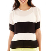 Worthington® Short-Sleeve Colorblock Blouse - Petite