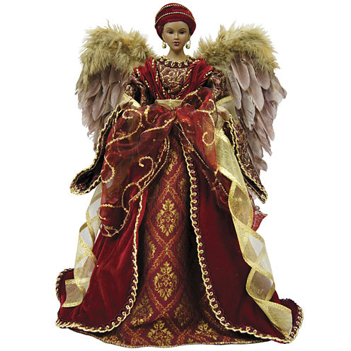 "Santa's Workshop 16"" African American Angel Tree Topper"