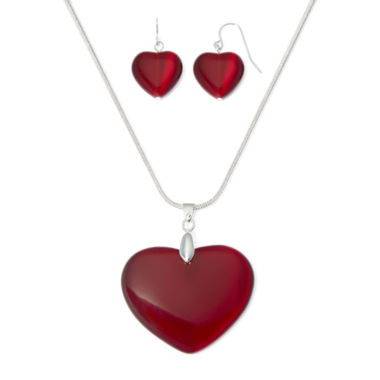 jcpenney.com | Mixit™ Red Cat's-Eye Heart Earring and Necklace Set