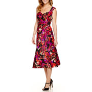 Black Label by Evan-Picone Sleeveless Floral Belted A-Line Midi Dress