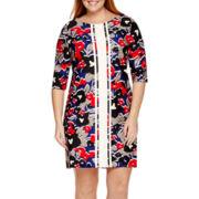 Taylor 3/4-Sleeve Floral Scuba Dress - Plus