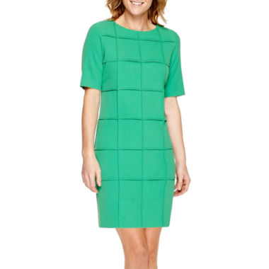 jcpenney.com | Studio 1® Elbow-Sleeve Window Pane Sheath Dress - Petite