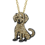 Animal Planet™ Crystal Sterling Silver Golden Retriever Pendant Necklace