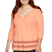 Arizona 3/4-Sleeve Crochet Knit Peasant Top - Juniors Plus