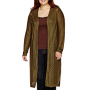 Arizona Long-Sleeve Pointelle Cardigan Duster - Juniors Plus