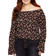 Arizona Long-Sleeve Off-Shoulder Floral Peasant Top - Juniors Plus