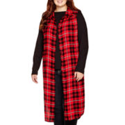 Arizona Sleeveless Plaid Duster - Juniors Plus